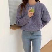 겨울 오버핏 라운드 퍼 두꺼운 컬러 니트 맨투맨