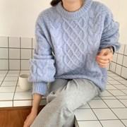 겨울 라운드 오버핏 나그랑 꽈배기 두꺼운 니트 맨투맨