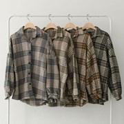 겨울 루즈핏 카라 나그랑 소매퍼프 체크 두꺼운 셔츠 남방