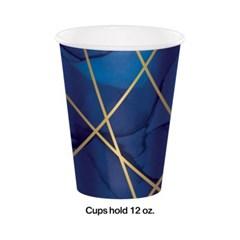 [빛나파티]네이비 골드 불규칙 줄무늬 종이 컵 Navy Blue Gold Geode