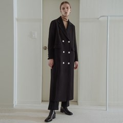 [COMFY] CASHMERE BLENDED BASIC DOUBLE COAT (BLACK)