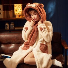 곰돌이 극세사 겨울 원피스 잠옷 홈웨어