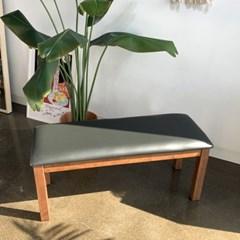 KA 고무나무 원목 쿠션 벤치 의자(3인용)