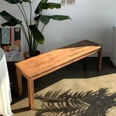 [카르페디]KA 고무나무 원목 나무 벤치 의자(2인용)