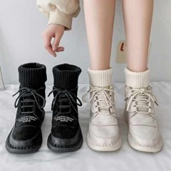 kami et muse Knit ankle ugly fur boots_KM20w190