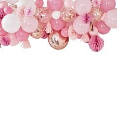 [빛나파티]블러쉬 핑크, 피치 풍선과 허니콤, 페이퍼팬 백드롭 Ballo