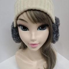 밍크 니트 두꺼운 아이보리 레드 학생 패션 귀마개