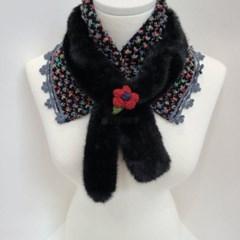 밍크 고리 니트 꽃 할머니 엄마 두꺼운 패션 머플러