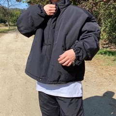 겨울 남성 오버핏 반폴라 두꺼운 누빔 컬러 숏패딩 점퍼