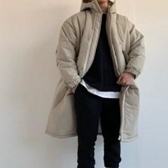 겨울 남성 오버핏 허리밴딩 누빔 무지 후드 롱패딩 점퍼