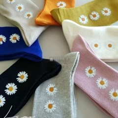 중목 긴 꽃무늬 핑크 겨자 데일리 스니커즈 패션 양말