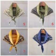 기모 꽃무늬 플라워 미니 진주 엄마 중년 패션 스카프