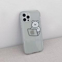 [아이폰전용]랩탑 모모베어 디자인 클리어케이스