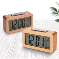 플라이토 리얼우드 LCD 탁상시계
