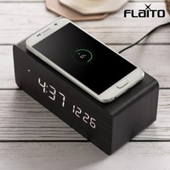 플라이토 우드 무선충전 데이트 LED 탁상시계 아답터증정