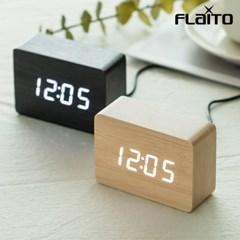 플라이토 우드 직사각 LED 탁상시계