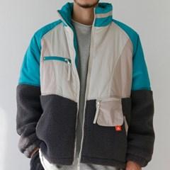 컬러블록 플리스 남자 숏 패딩 점퍼 페이크 양털 겨울