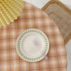 빈티지 테이블보 오렌지 체크 식탁 홈카페