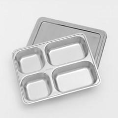 [쿠킹스]뚜껑 스텐 식판(4칸)