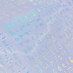 투명금테 투명도100% - Alphabet 소문자 오로라 칼선 스티커