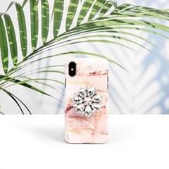 핑크크렉 큐빅 그립 스마트톡 대리석 핸드폰케이스 갤럭시/아이폰
