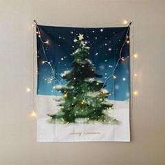 천에 담긴 크리스마스 트리 패브릭 포스터
