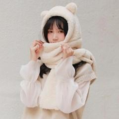 곰돌이 모자 목도리 후드 머플러 2color 갓샵 양털 뽀글이 곰목도리
