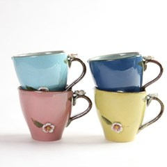 분청 입체 꽃잎 도자기 머그컵 물잔 4color