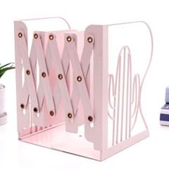 선인장 접이식 책꽂이(핑크) /자바라 철제책꽂이