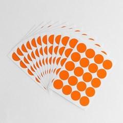 20mm 컬러 원형 스티커 12매세트(오렌지)