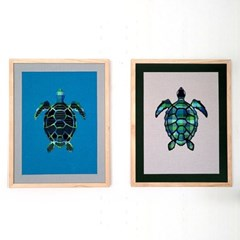[패브릭피쉬] 액자 바다거북 시리즈 40x50  2종