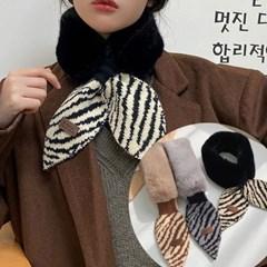 사퍼 페이크퍼 니트 패션 쁘띠 숏 머플러_(2509982)