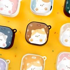 고양이 냥이 에폭시 하드 갤럭시 버즈 2 라이브 프로 케이스+키링