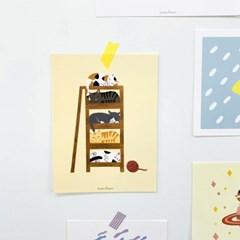 고양이 캣타워 일러스트 엽서 포스터