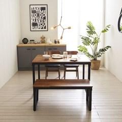 KUF 도나 4인 멀바우원목 식탁세트(의자/벤치)_(2103654)
