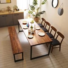 KUF 도나 6인 멀바우원목 식탁세트(의자/벤치)_(2103638)