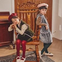 퍼키 벨벳 물결퀼팅 베스트 리본 조끼 (그레이, 카키)
