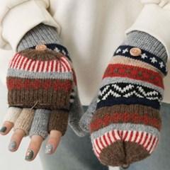 겨울 손가락뚫린 노르딕 크리스마스 벙어리 여자울니트장갑