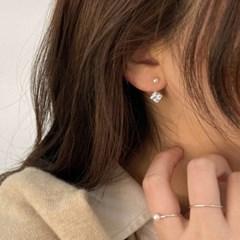 사각 큐빅 투웨이 미니진주 웨딩 귀걸이