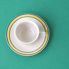 미쿡의아침밥 클래식 커피잔(옐로그린)