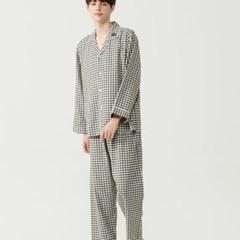 남자 오버핏 카라 체크 기모 잠옷세트 홈웨어