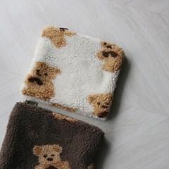 곰돌이 뽀글이 양털 퍼 지퍼 파우치 (2color)