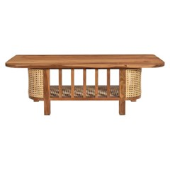WOODEN COFFEE TABLE WITH CANE