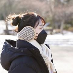 겨울 남녀공용 커플 패션 극세사털 귀도리 체크귀마개_(1293173)