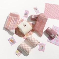 핑크 컬러 5종 양말 SET (5개 1세트)