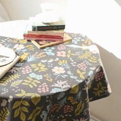 면린넨 빅 플라워 식탁보 테이블보 덮개-차콜