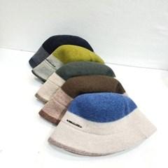 투톤 패션 데일리 배색 챙넓은 버킷햇 벙거지 모자