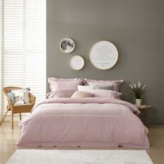 리프 (핑크) - 호텔식 자수 이불커버