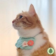 개달당 플라워 니트 턱받이 강아지 턱받이 고양이케이프