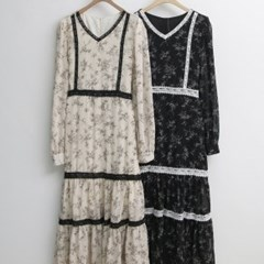 드레스 레이스 샤랄라 플라워 포인트 롱 원피스